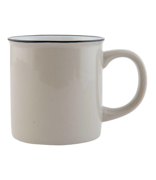 "Kaffeebecher ""Emaille Look"" Keramik, grau"