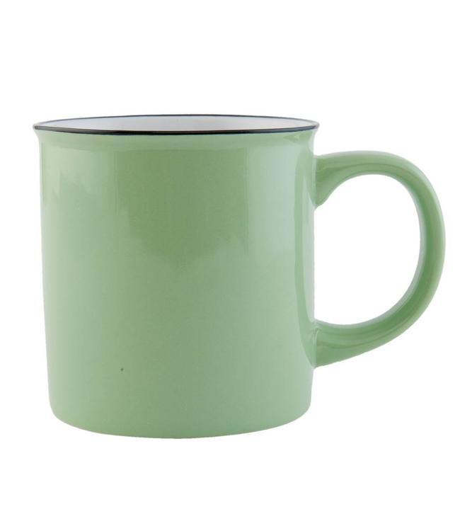 """Kaffeebecher """"Emaille Look"""" Keramik, grün"""