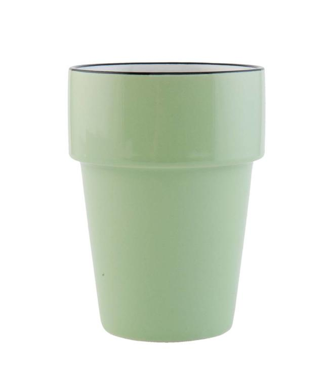 "Becher ""Emaille Look"" Keramik, grün"