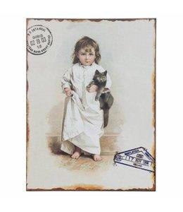 """Schilder Vintage Dekoschild """"Kind mit Katze"""""""