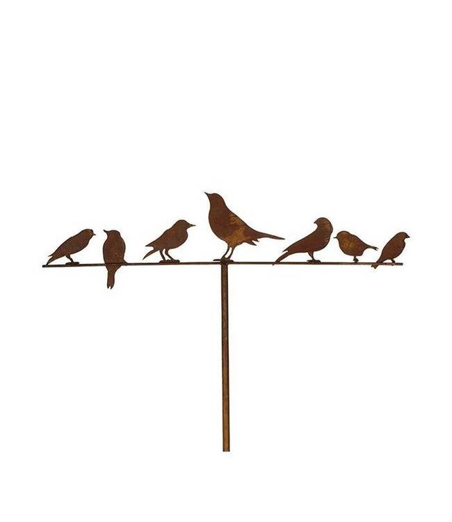 """Gartenstecker """"Vögel auf Stange"""" Rostige Gartendekoration"""