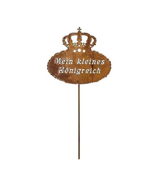 """Gartenstecker Rostig """"Krone - Mein kleines Königreich"""" 175 cm"""