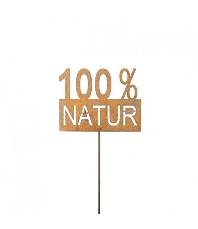 "Metall Rankstab ""100% Natur"" Rostige Gartendeko"