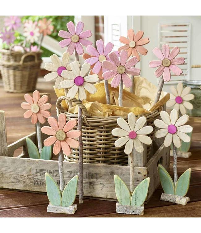 Blumen aus Holz 12er-Set - Landhausstil