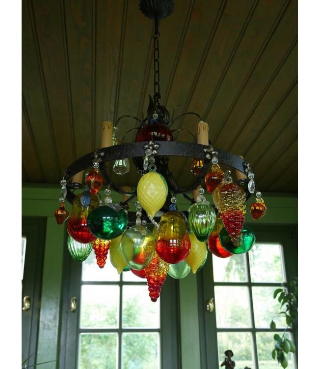 """Kronleuchter """"Fruit"""" 6-flammig - Mit Früchten aus Murano-Glas"""