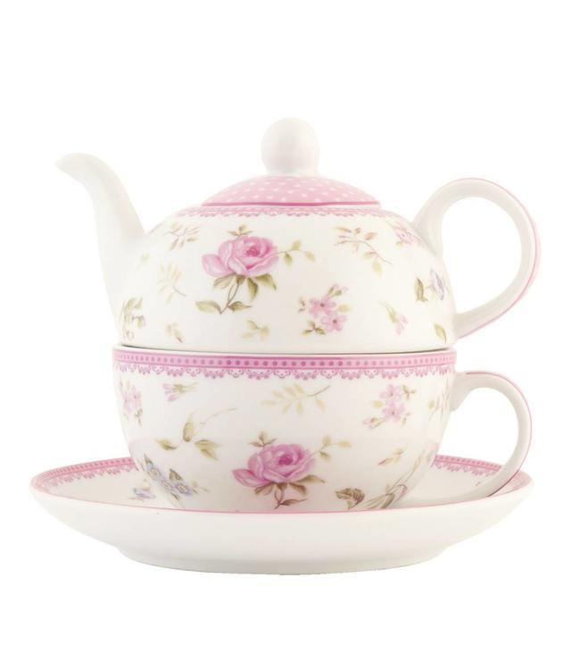 "Tea for one - Teekanne mit Tasse & Teller ""Elegant rose"""