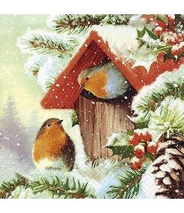 """Weihnachtsservietten 20x """"Rotkehlchen"""" 33x33 Vintage"""