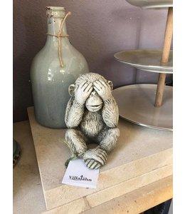 """Gartendeko Vintage Steinfigur Affe """"Nichts sehen"""""""