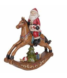 Clayre & Eef Weihnachtsmann auf Schaukelpferd
