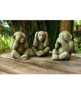 """Steinfiguren """"3 weise Affen"""" mit Antik-Patina für den Landhausgarten"""