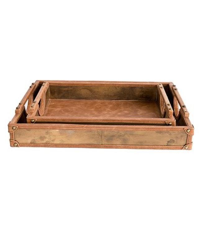 """Tablett Antik """"Holz + Leder"""" 2er Set"""