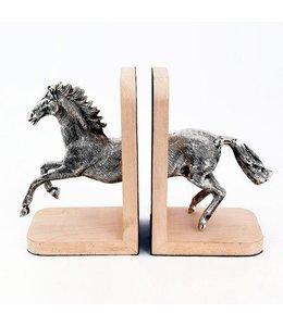 """Buchstützen-Set """"Pferd"""" Holz+Alu"""