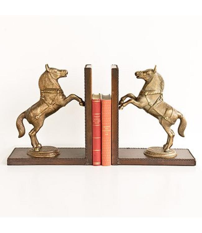 """Buchstützen Vintage Buchstützen-Set """"Pferde"""" Leder, Vintage"""