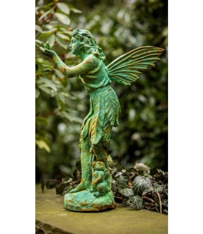 "Gartenfigur ""Filigrane Fee mit Vogel"" Antik-Patina"