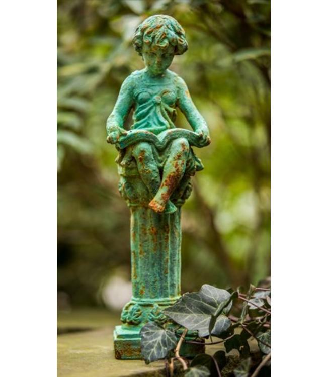 """Gartenskulptur """"Mädchen mit Buch"""" Antik-Finish"""