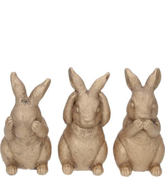 Die 3 weisen Hasen in gold
