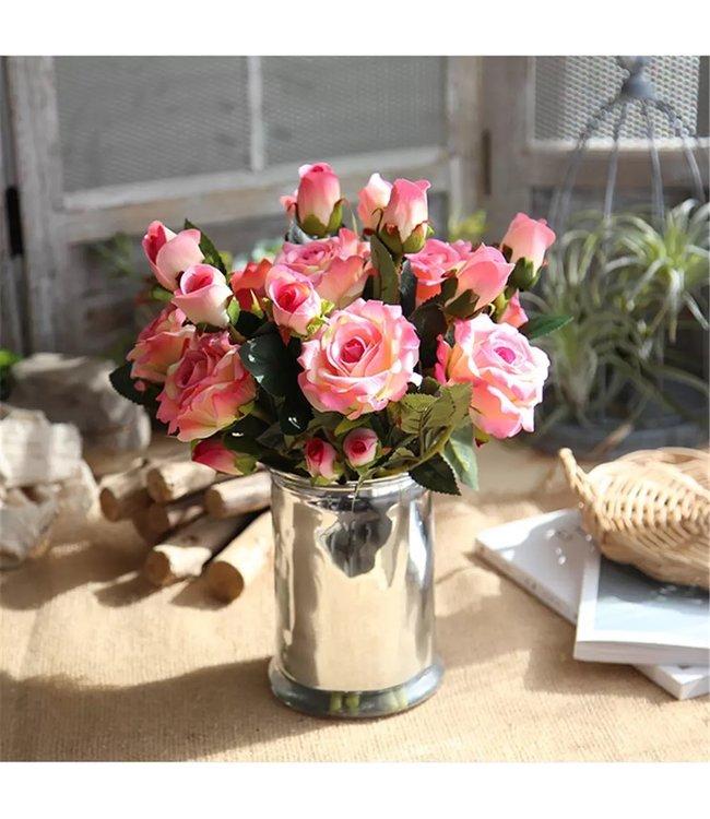 Kunstrosenstrauß & Vase im Set (4 Farben)