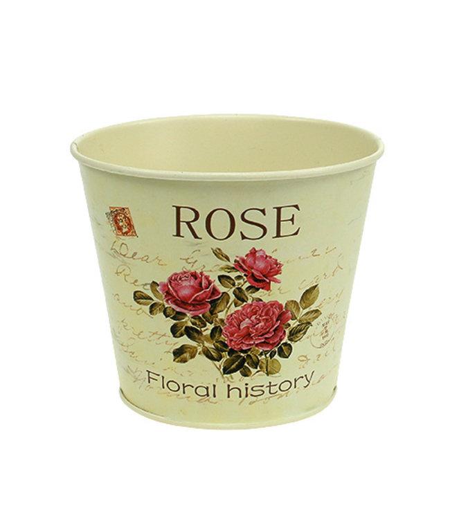 Blumentopf Rosenmotiv