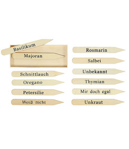 Kräuterstecker-Set Holz, 12 Stück