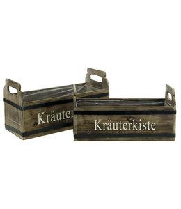 Kräuterkiste aus Holz, 2er-Set