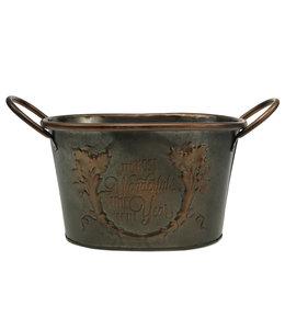 Metallschale Oval mit Griffen 17cm x 14cm