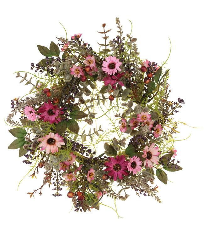 Blumenkranz mit Gänseblümchen und Beeren Altrosa Ø30cm