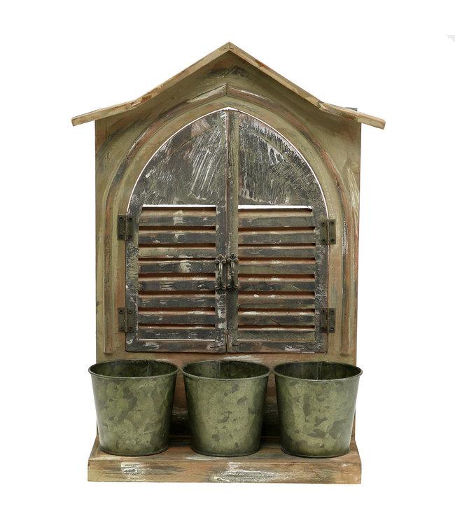 Deko-Fenster Holz mit 3 Blumentöpfen, H49cm