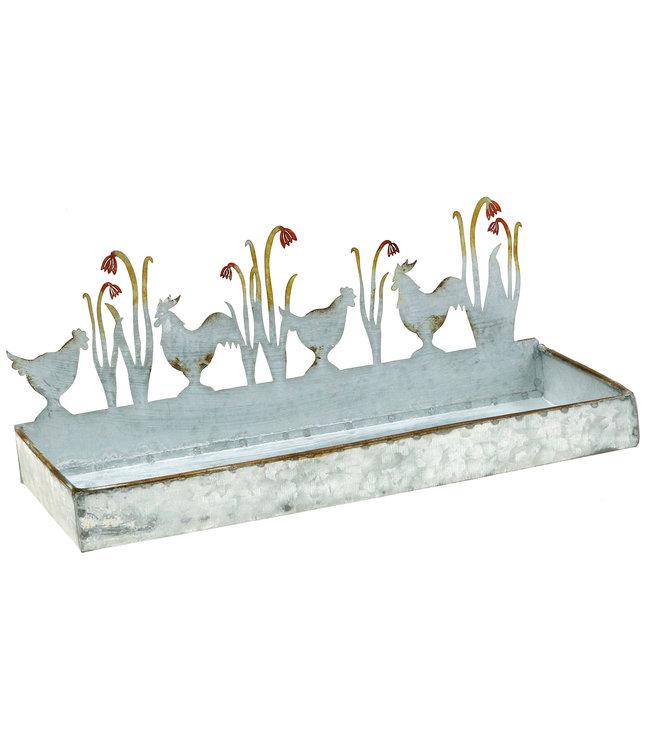 Zinktablett Frühlingswiese und Hahn 30cm