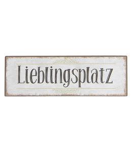 """Clayre & Eef Deko-Schild """"Lieblingsplatz"""" 30x10"""