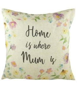 "Kissen Vintage Kissenhülle ""Home is where Mum is"" 40x40"