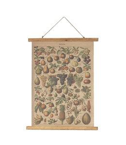 """Clayre & Eef  Wandkarte """"Obst"""" Nostalgische Wanddeko für Gartenfreunde"""