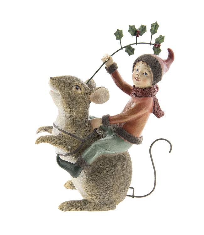Deko Maus mit Elfe