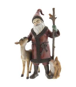 Weihnachtsmann mit Reh und Eichhörnchen