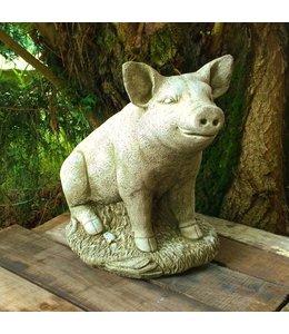 """Steinfigur """"Glückliches Schwein"""" für Ihren Garten, Made in UK"""