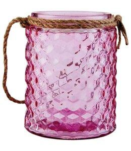 Clayre & Eef Teelichthalter aus Glas, Pink