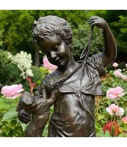 """Gartenfigur Bronze """"Mädchen mit Katze"""" Antik-Patina"""