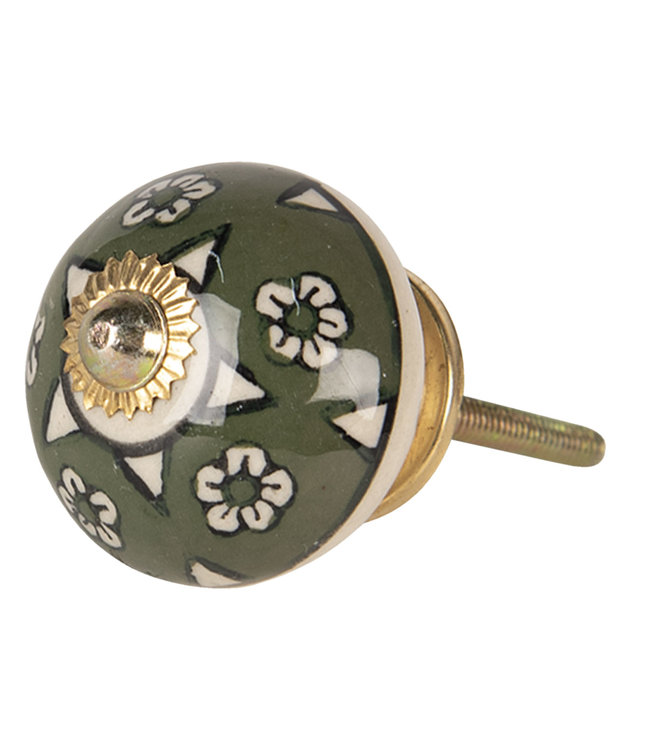 Türknopf Keramik, Blumenmuster, grün
