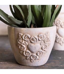 Clayre & Eef Blumentopf mit Verzierung, Altweiß