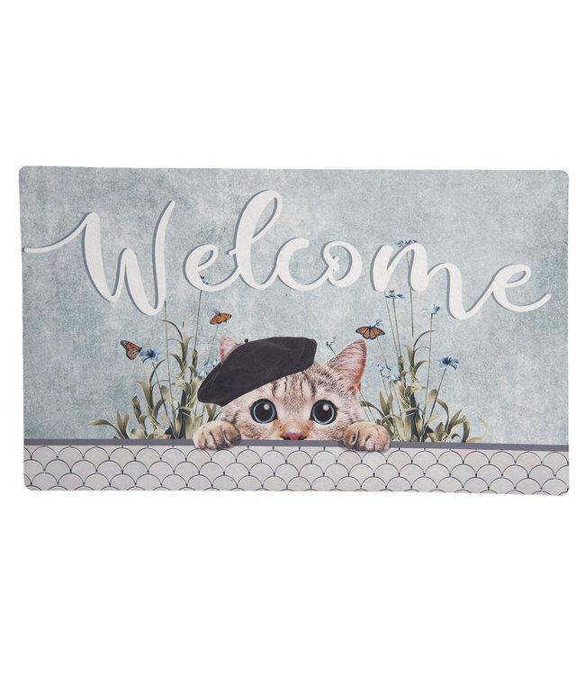 "Cottage Interiors Türmatte ""Welcome"" Katze"