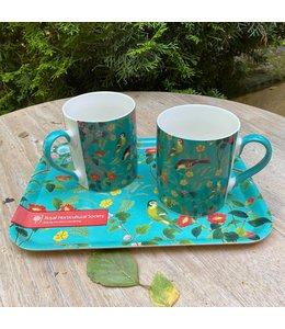 """Tabletts Vintage Geschenkset für Gartenfreunde """"Tablett & 2 Kaffeebecher"""""""