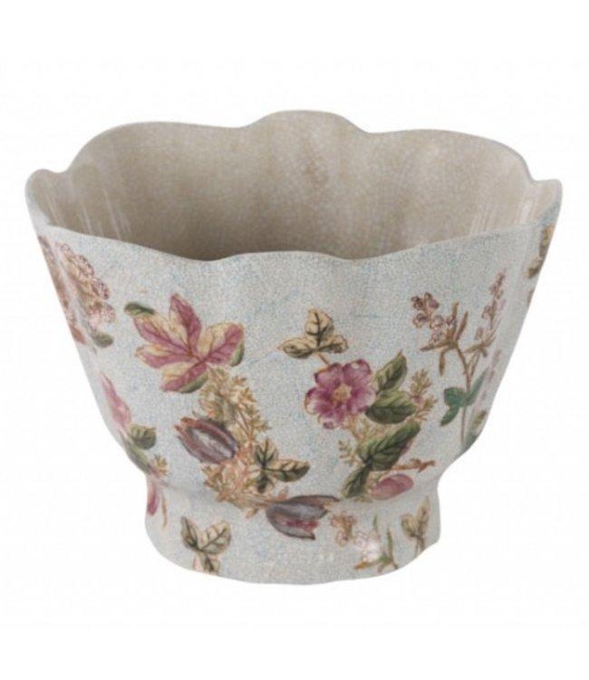 Pflanztopf Porzellan mit Blumendeko, Vintage