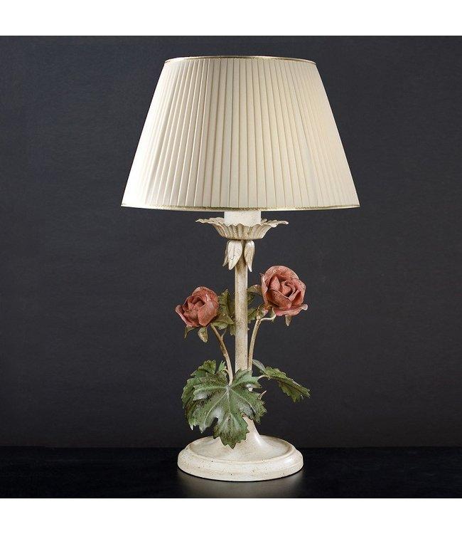 Tischleuchte mit Rosen, Vintage