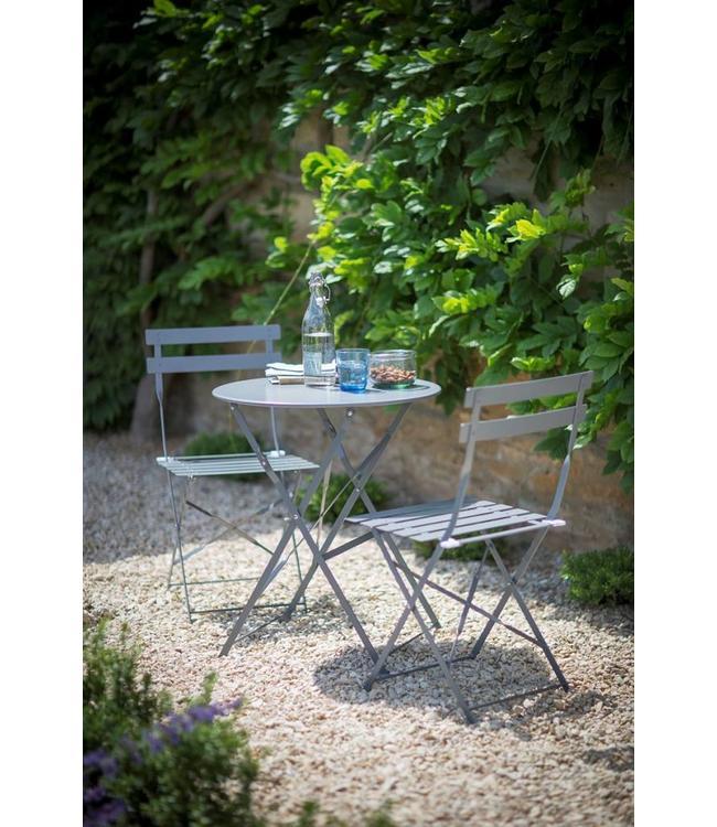 Bistro-Set: 1 Gartentisch und 2 Gartenstühle, grau-blau