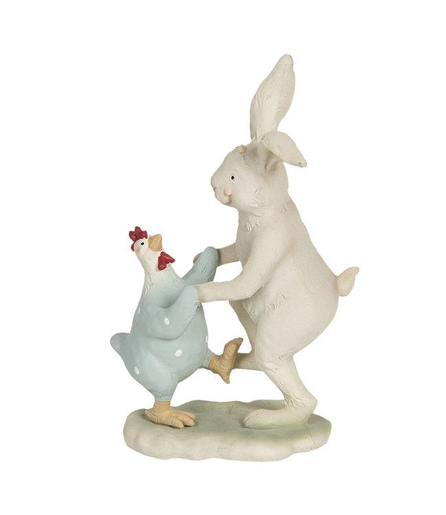 """Osterhase Vintage """"Tanzender Hase mit Huhn"""""""