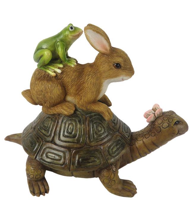 Deko-Schildkröte mit Hase und Frosch, Vintage