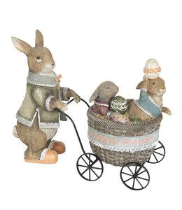 Osterhasenmutti mit Kinderwagen, Vintage