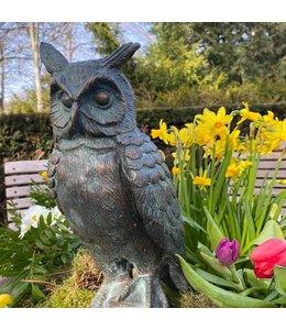 "Gartenfigur ""Eule"" Bronze, Vintage Patina"