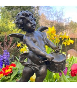 """Bronzefigur """"Engel mit Trommel"""" Vintage Patina"""