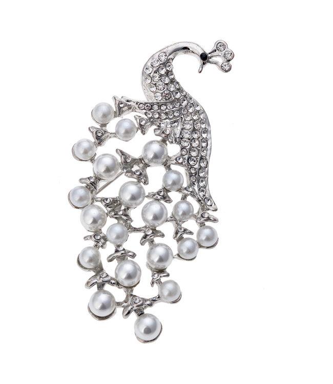 """Brosche Vintage """"Pfau mit Perlen"""""""