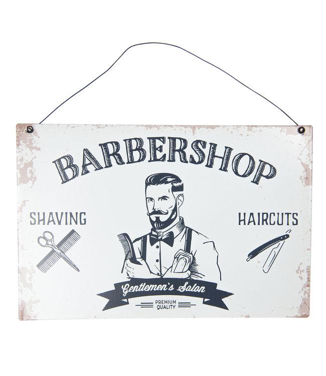 """Blechschild """"Barbershop"""" Altweiß, Vintage"""
